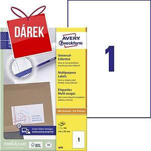Univerzální etikety Avery, 3478, 210 x 297 mm, 1 etiketa/list