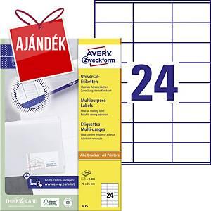 Avery Zweckform 3475 univerzális etikettek 70 x 36 mm, 24 etikett/ív, 100 ív