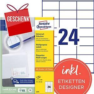 Etiketten Avery Zweckform 3475, 70 x 36 mm, weiss, Packung à 2400 Stück