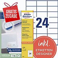 Universal-Etiketten Avery Zweckform 3475 70x36mm weiß 100 Blatt/2.400 Stück