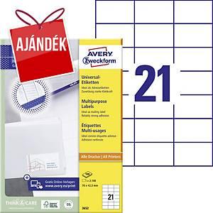 Avery Zweckform 3652 univerzális etikettek 70 x 42,3 mm, 21 etikett/ív, 100 ív