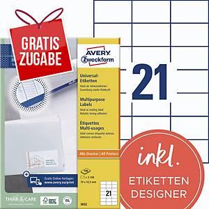 Universal-Etiketten Avery Zweckform 3652 70x42,3mm weiß 100Blatt/2.100 Stück