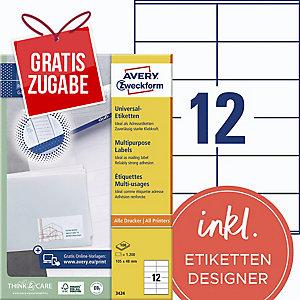 Universal-Etiketten Avery Zweckform 3424 105x48mm 100 Blatt/1.200 Stück