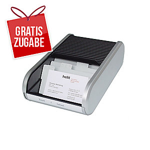 Visitenkartenbox Helit H62180, für 300 Karten, 8-teiliges Register, grau/schwarz