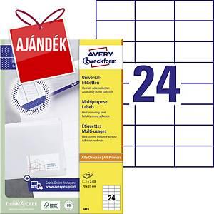 Avery Zweckform 3474 univerzális etikettek 70 x 37 mm, 24 etikett/ív, 100 ív