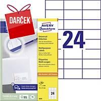Univerzálne etikety Avery, 3474, 70 x 37 mm, 24 etikiet/balenie