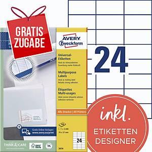 Universal-Etiketten Avery Zweckform 3474 70x37mm weiß 100 Blatt/2.400 Stück