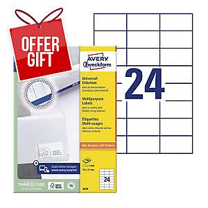 AVERY INKJET/LASER/COPIER LABELS WHITE 3474 - 70 X 37MM - BOX OF 2400