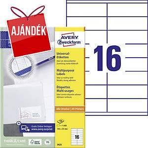 Avery Zweckform 3423 univerzális etikettek 105 x 35 mm, 16 etikett/ív, 100 ív