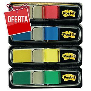 Pack de 4 dispensadores Post-it Index 1/2  , 35 marcadores por cor (clássicos)