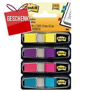3M Post-it® 683 Page-Marker 12x44mm, Pack. 4 Farben zu je 35 Blatt