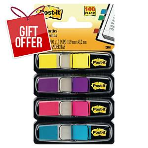 Post-it Index small 12x44 mm blue, pink, purple and yellow