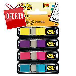 Pack 4 dispensadores Post-it Index 1/2  , 35 marcadores por cor (brilhantes)