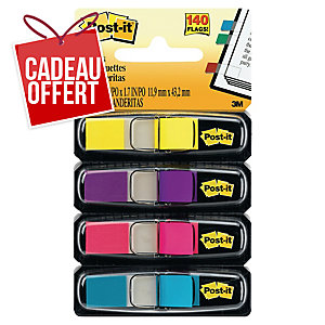 Lot de 4 distributeurs marque-pages Post-it etroits coloris fluo assortis