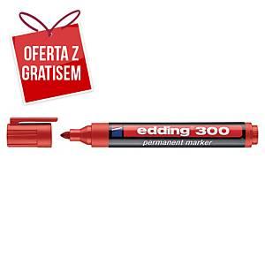 Marker permanentny EDDING 300, okrągła końcówka, czerwony