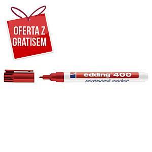 Marker permanentny EDDING 400, okrągła końcówka, czerwony