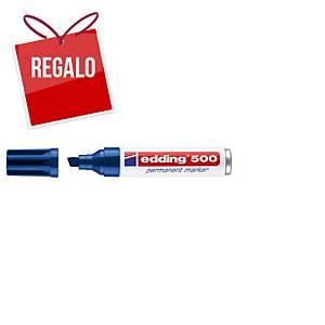 Marcador permanente Edding 500 - punta biselada 2-7 mm - azul