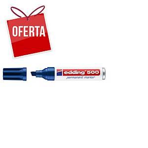 Marcador permanente Edding 500 - ponta em bisel 2-7 mm - azul