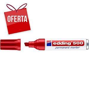 Marcador permanente Edding 500 - ponta em bisel 2-7 mm - vermelho