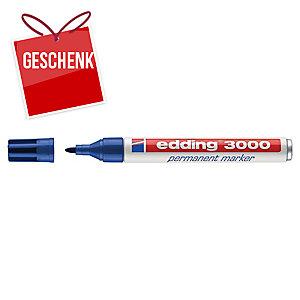 Permanent Marker Edding 3000, Rundspitze, Strichbreite 1,5-3 mm, blau