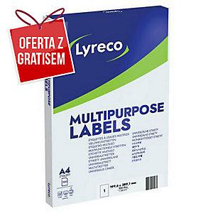 Etykiety uniwersalne LYRECO 199,6x289,1 mm, w opakowaniu 100 etykiet