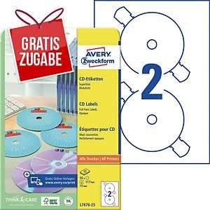 CD/DVD-Etiketten Avery Zweckform L7676-25, Ø 117mm, weiß, 25 Blatt/50 Stück