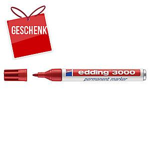 Permanent Marker Edding 3000, Rundspitze, Strichbreite 1,5-3 mm, rot