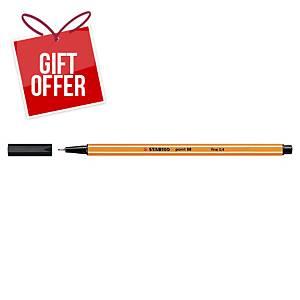 Stabilo Point 88 Fineliner Black Pens 0.4Mm Line Width - Box Of 10