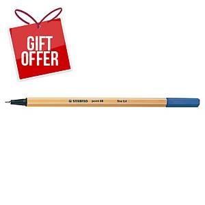 Stabilo Point 88 Fineliner Blue Pens 0.4Mm Line Width