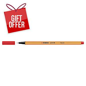 Stabilo Point 88 Fineliner Red Pens 0.4Mm Line Width