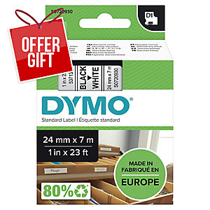 Dymo D1 Labels, Black Print On White, 24mm X 7M