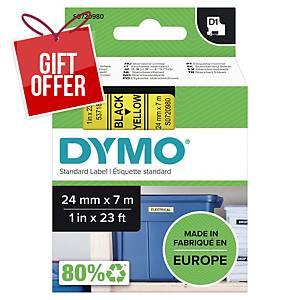 Dymo D1 Labels, 24mm X 7M Roll, Black Print On Yellow