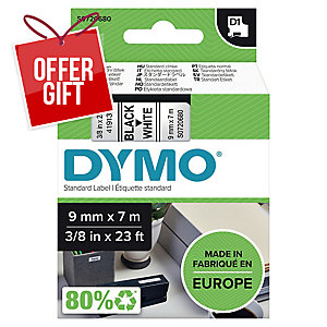Dymo D1 Labels, 9mm X 7M Roll, Black Print On White