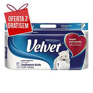 Papier toaletowy VELVET, biały, 8 rolek