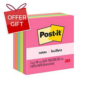 POST-IT 654-5PK NEON NOTES 3   X 3   - 5 NEON COLOURS - PACK OF 5