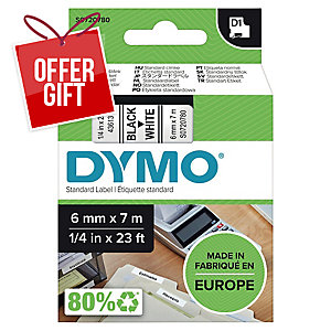 Dymo D1 Labels, Black Print On White, 6mm X 7M