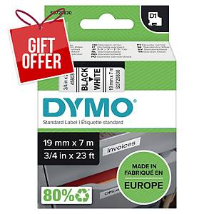 Dymo D1 Labels, Black Print On White, 19mm X 7M