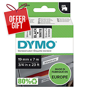 Dymo D1 Labels, Black Print On White, 19mm X 7M