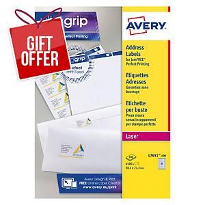 Avery L7651-100 Labels, 38.1 x 21.2 mm 65 Labels Per Sheet, 6500 Labels Per Pack
