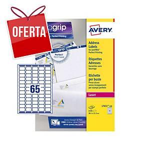 Caixa de 6500 mini etiquetas adesivas Avery L7651-100 -38,1 x 21,2 mm - branco