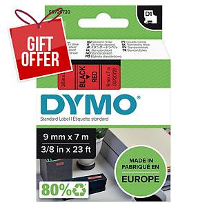 Dymo D1 Labels, 9mm X 7M Roll, Black Print On Red