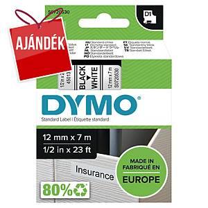 Dymo D1 szalag, 12 mm x 7 m, fekete-fehér