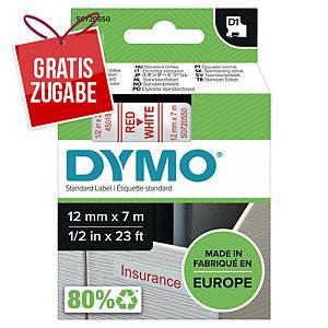 Schriftband Dymo D1 45015, Breite: 12mm, rot auf weiß