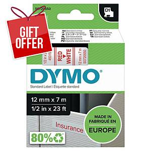 Dymo D1 Labels, 12mm X 7M Roll, Red Print On White