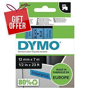 Dymo D1 Labels, 12mm X 7M Roll, Black Print On Blue