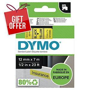 Dymo D1 Labels, Black Print On Yellow, 12mm X 7M