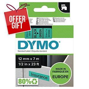 Dymo D1 Labels, 12mm X 7M Roll, Green Print On Black