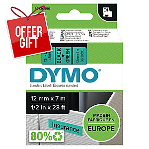 Dymo D1 Labels, 12mm X 7M Roll, Green Print On Black