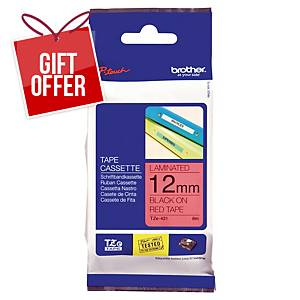 Brother P-Touch TZe Labelling Tape 8M X 12Mm - Black On Red