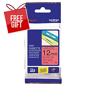 BROTHER TZe BLACK/RED LABELLING TAPE 8M X 12MM
